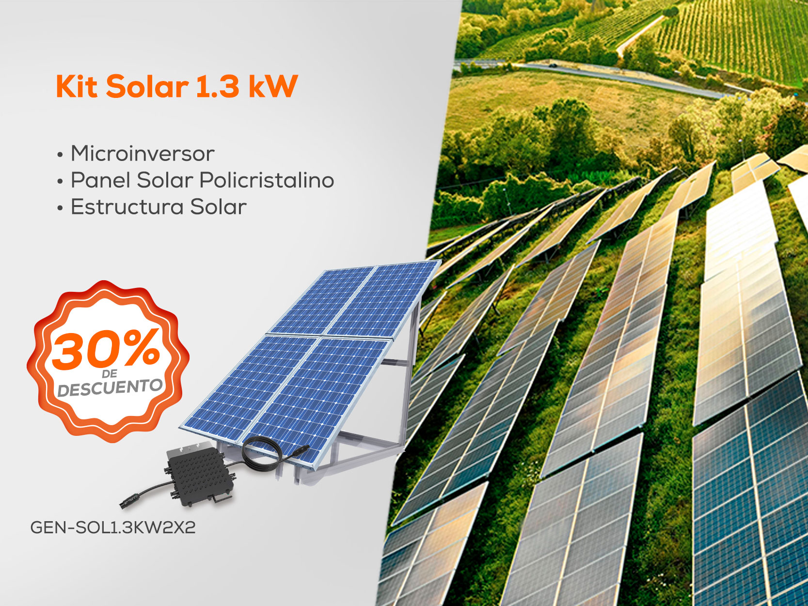 Kit Solar 1.3 kW - Microinversor - Panel Solar- Estructura Solar